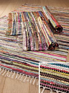 Hippy Rug~Multi Coloured Rag Rug Eco Recycled Hippy Rug 150 x 210 cm~Fair Trade RR57